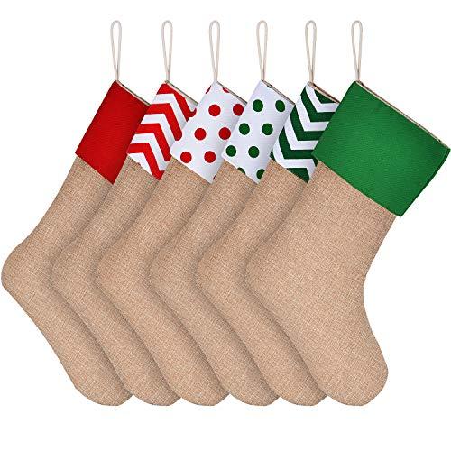 6 Stockings - Sunshane 6 Pieces Burlap Christmas Stockings Xmas Fireplace Hanging Stockings Decoration Stockings for Christmas Decoration DIY Craft, Color Set 3