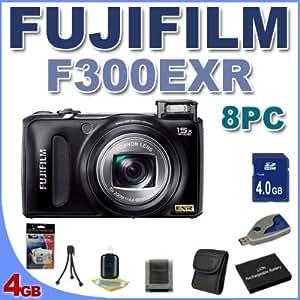 Fujifilm FinePix F300EXR Digital Point and Shoot Camera (Black) BigVALUEInc 8PC Saver Bundle!