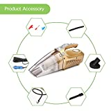 Car Vacuum Cleaner with LED Light, ALLOMN DC 12V 120W 4-In-1 Multifunction Auto Vacuum Cleaner Tire Inflator Tire Pressure Gauge with 13.8ft Power Cord, 3 Valve Nozzles and Inflator Hose