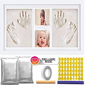 Deluxe Size Baby Hand and Footprint Clay – 16 x 9 inches Picture Frame Kit | Non-Toxic No Bake Clay Keepsake Frame – Baby Shower Present | Newborn Baby Gift | Twin Babies | with 600 Grams of Clay