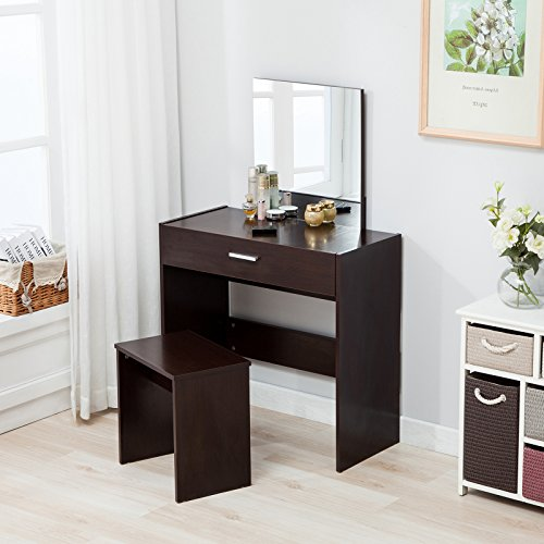 Mecor Vanity Makeup Table Set Dressing Table with Stool and Square Mirror,Espresso