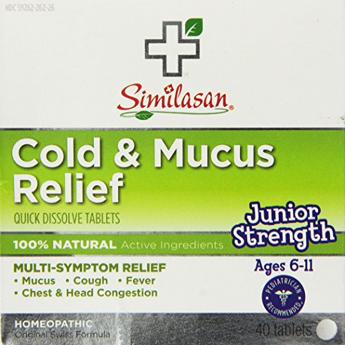 Similasan Cold and Mucus Relief Junior Strength Tablets, 40 Count