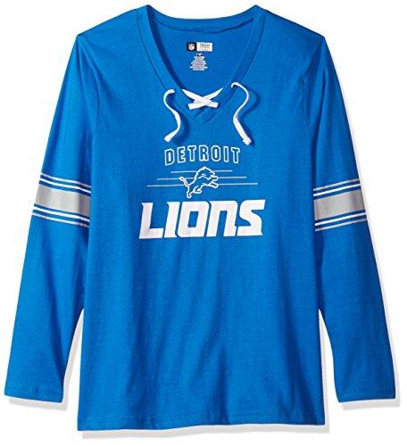 NFL Detroit Lions Women L/S JERSEY  V NECK TEE, LION BLUE/WHT, 1X