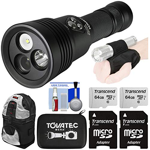 Tovatec Mera Underwater Dive 1000 Lumens LED Light & Built-in Photo/Video 1080p HD Camera with (2X) 64GB Cards + Case + Backpack + Hand Strap Kit