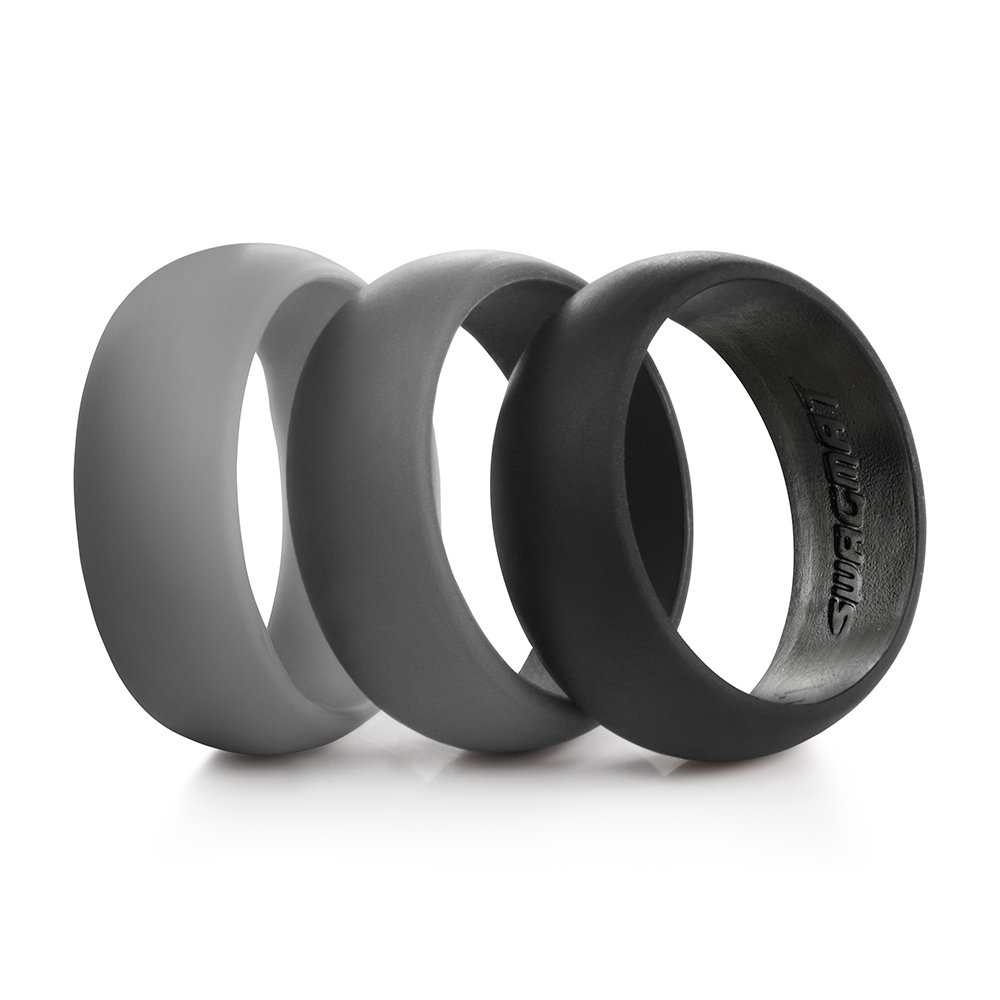 Amazon : Men's Silicone Wedding Ring Bands  3 Ring Pack  Black, Dark  Grey, Light Grey : Sports & Outdoors