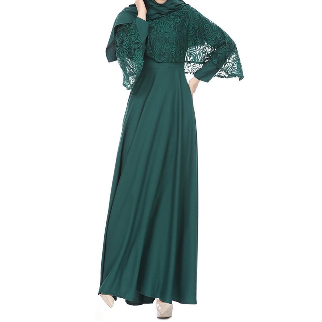f7f15397af Women Muslim Kaftan Abaya Jilbab Long Sleeve Lace Long Maxi DressWomens Dress  Summer O-Neck Boho Sleeveless Floral Printed Beach Mini Dress Casual T-Shirt  ...