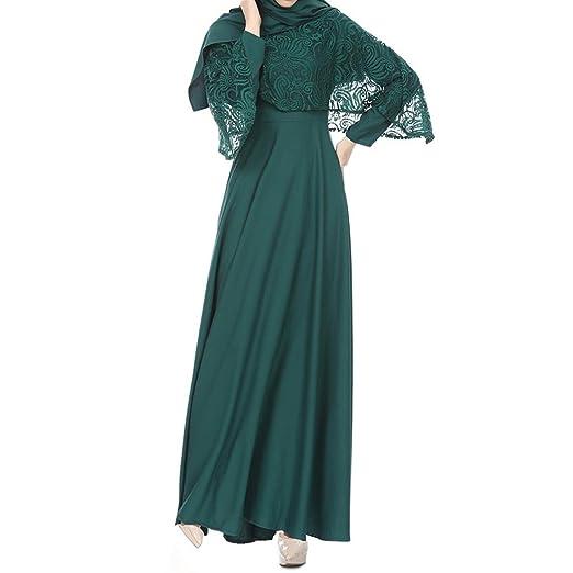 bfe5188ed Abaya Dresses for Modest Women Muslim Islamic Kaftan Long Sleeve Lace Long Maxi  Dress at Amazon Women's Clothing store: