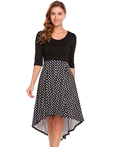 Hem Empire Dress (Zeagoo Women Polka Dot Empire Waist High Low Hem Dress XXL)