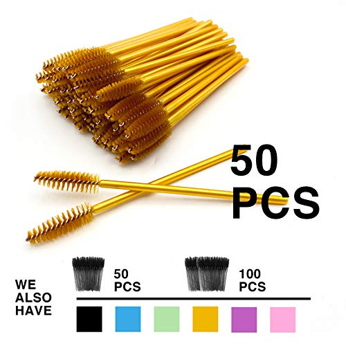 GreenLife 50 pcs Multicolor Disposable Eyelash Brush Eyebrow Brush Mascara Wands Applicator Makeup Brush(50pcs, Yellow)