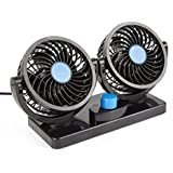 Autvivid 12V Car Cooling Fan With 360° Rotatable Dual Head, Electric Fan, 2 Adjustable Speed Dashboard With Detachable Velcro Tape, Ventilation Fan, Summer Cooling Air Circulator (Blue)