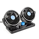Ohmotor Adjustable 12V Mini Electric Car Fan Low Noise Summer Air Conditioner 360 Degree Rotating 2 Gears Air Cooling Fan (Blue (12V))