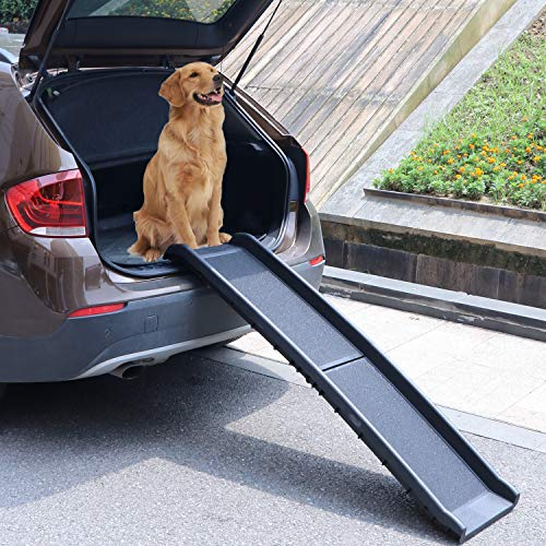 Atoz Create Bi-Fold Pet Ramp for Large Dog Collapsible Portable Dog and Cat Ramp Support Up to 200lbs, 62 in, Great for Cars, Vans, SUVs, and Trucks(Black)