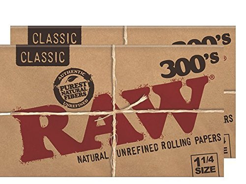 RAW 300's Classic Natural Unrefined Rolling Papers 300 Leaves Per Pack 1 1/4 Size (2 Packs)