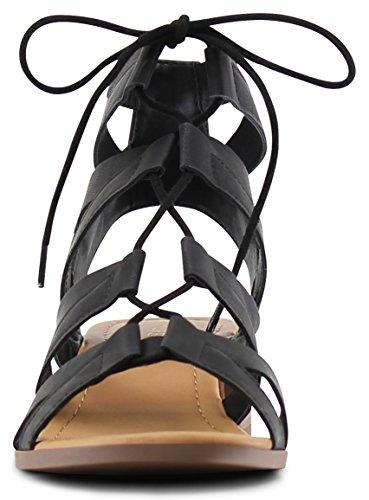 MARCOREPUBLIC Zurich Open Toe Gladiator Chunky Block Stacked Heels Sandals - (Black) - 8.5 by MARCOREPUBLIC (Image #2)