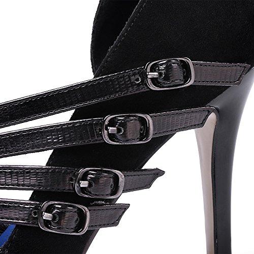 Nine Seven Cuero Moda Puntiagudos Tacones de Aguja con la Hebilla para Mujer negro