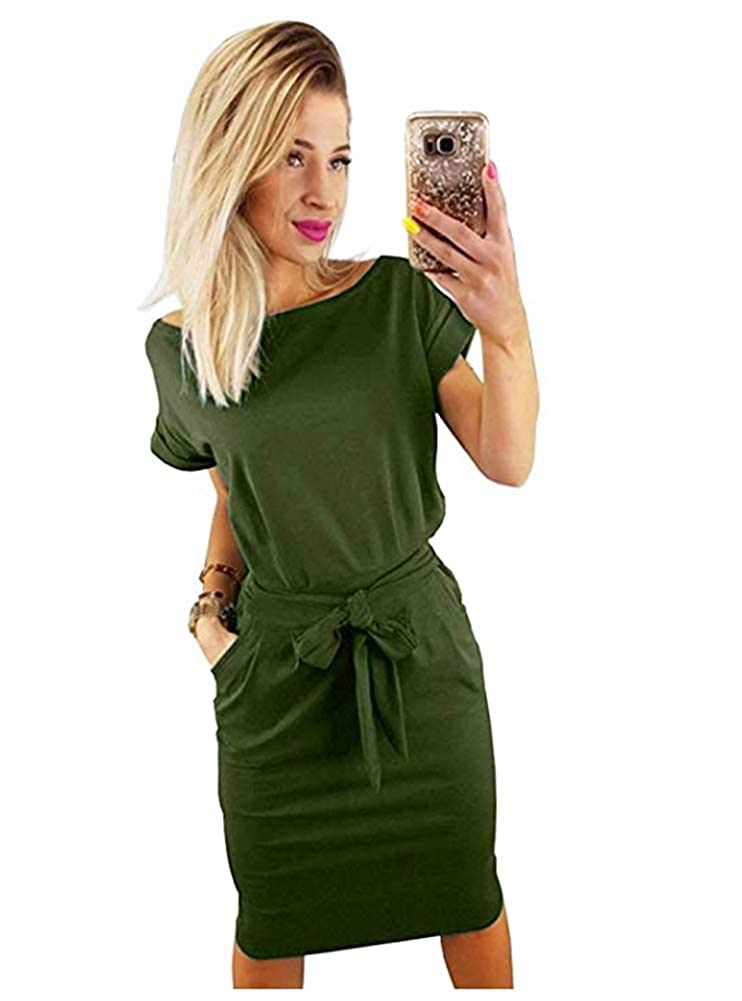 e786c7c14f Longwu Women s Elegant Lantern Sleeve Short Sleeve Wear to Work Casual  Pencil Dress with Belt at Amazon Women s Clothing store