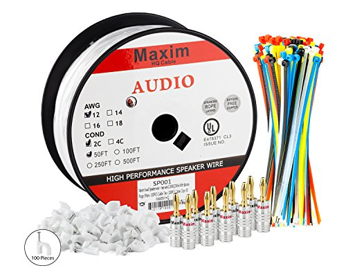 Amazon.com: Maximm In Wall Speaker Wire - 50 Feet - 12AWG CL3 Rated on speaker wire banana connectors, stereo speaker wire plugs, pioneer receiver speaker wire plugs, speaker wires with clips,