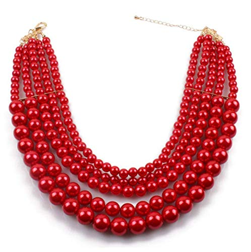 Shineland Elegant 5 Layer Strand Faux Pearl Cluster Collar Bib Choker Necklace And Earrings Suit - Pearl China Necklace