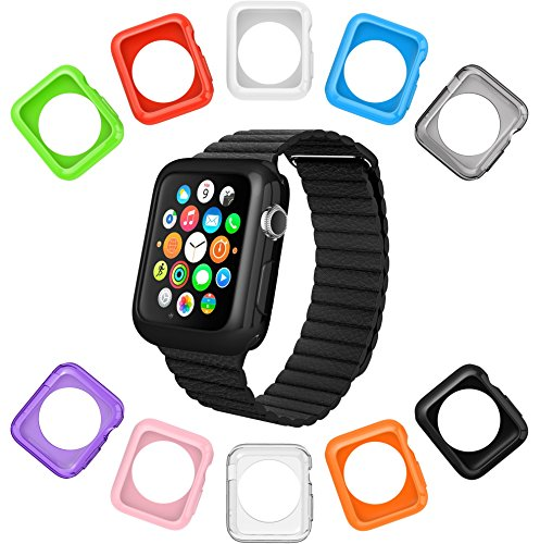 Apple Watch Case by La Zuzzi, 10 Soft Covers, for Apple Watch Sport & Apple Watch, Anti Scratch Protection Cover, Match Colors with Your iPhone Case, New in Apple Accessories [Series 2 & 3, 42mm]