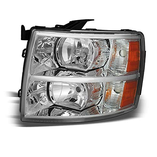 For 2007-2014 Silverado Driver Side Replacement Headlight Chrome Left LH Front Lamp /2008 2009 2010 2011 2012 2013 Xtune