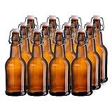 California Home Goods 16 Ounce Grolsch Bottles with Easy Cap Flip Top Caps for Brewing Beer, Kombucha, Kefir, Water, Thick High-Grade Glass, Resealable, Amber (12)