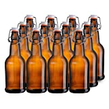 California Home Goods 16 Ounce Glass Brewing Bottles with EZ Caps for Beer, Kombucha, Amber, Reusable (Set of 12)