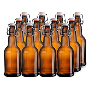 California Home Goods 16 Ounce Grolsch Bottles with EZ Caps for Beer, Fermenting Kombucha, Home Brewing, Kefir, Resealable and Reusable, Flip Top Caps, Amber (Set of 12)