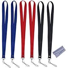 """Wisdompro 6pcs 19"""" Premium Nylon Neck Strap Lanyard / with J-Hook & Tone Split Ring For Phones, Cameras, USB, Keys, Keychains, ID Name Tag Badge Holders or other Portable item - Red /Black /Blue"""