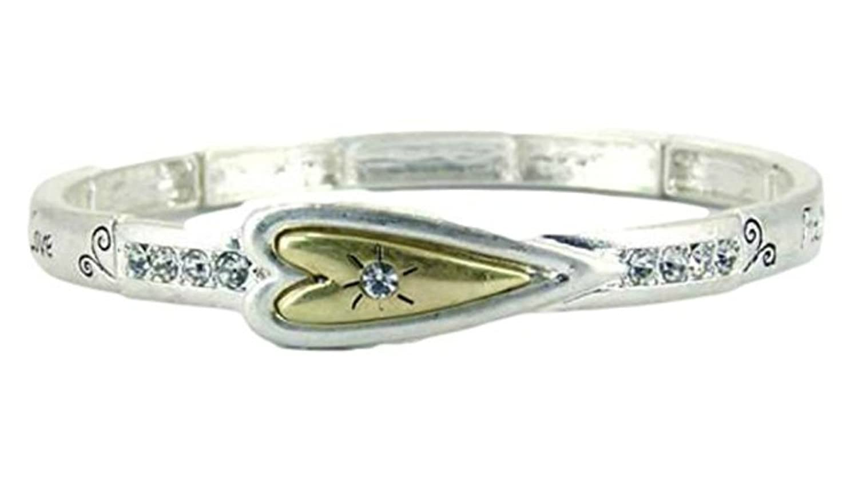 """Faith-Hope-Love"" Religious Theme 2-Tone Stretch Bracelet By Athena Brand"