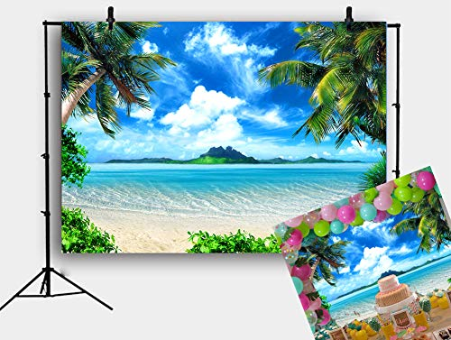 Fotupuul Summer Beach Ocean Backdrop Photo Tropical Beach Seaside Island Palm Trees Blue Sea Sky Sunshine Photography Background 7x5FT