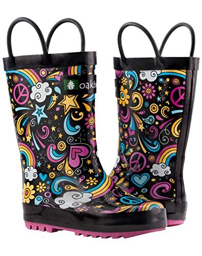Oakiwear Kids Rubber Rain Boots with Easy-on Handles, Peace, Love & Rainbows, 6T US Toddler, Peace by Oakiwear (Image #9)