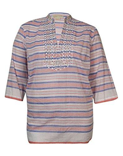 MICHAEL Michael Kors Women's Beaded Striped Cotton Tunic (1X, Royal/Clementine) -