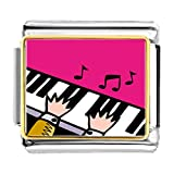 GiftJewelryShop Gold Plated Music Piano Playing Bracelet Link Photo Italian Charm Bracelets