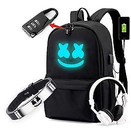 Cozyonme Smile Luminous Backpack with USB Charging Port Safety Lock & DJ Bracelet, Unisex Fashion Daypack Travel DJ…