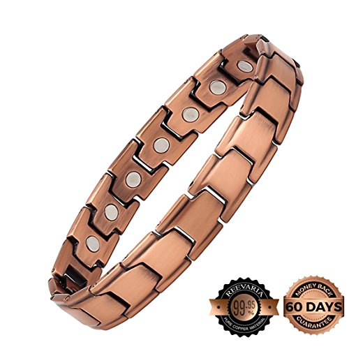 Reevaria Mens Elegant GUARANTEED 99.9% PURE Copper Magnetic Therapy Bracelet Pain Relief for Arthritis and Carpal Tunnel, 3500 Gauss (Agility Jewelry)