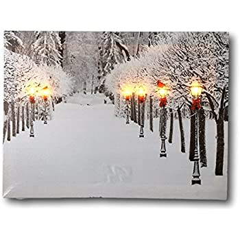 Snowy Pathway Print   LED Lighted Picture With Winter Scene   Black Lantern  Light Posts And
