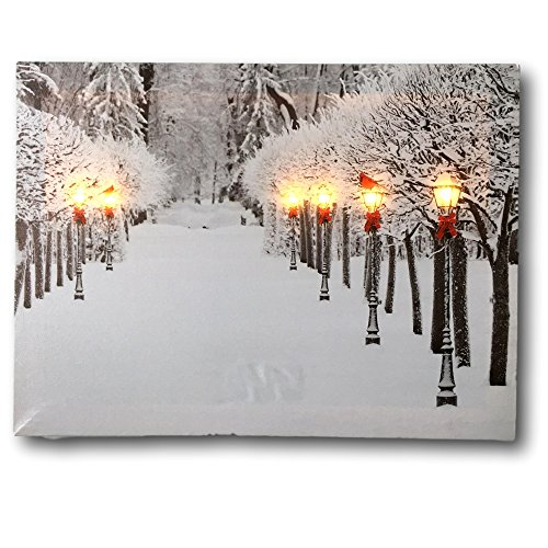 BANBERRY DESIGNS Snowy Pathway Print - LED Lighted Picture with Winter Scene - Black Lantern Light Posts and Red Bows - Christmas Wall Art]()