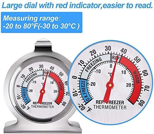 6 PQZATX Refrigerator Freezer Thermometer Classic Series Large Dial Thermometer Temperature Thermometer for Refrigerator Freezer Fridge Cooler