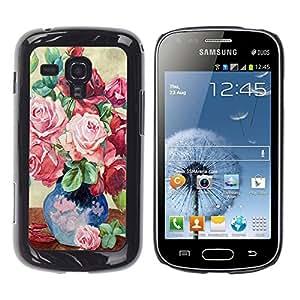 TopCaseStore / la caja del caucho duro de la cubierta de protección de la piel - Painting Roses Vase Art Pink - Samsung Galaxy S Duos S7562