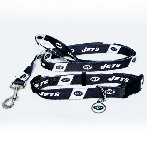 New York Jets 3pc Pet Set Dog Leash Collar ID Tag MEDIUM