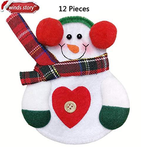VietFX Pendant & Drop Ornaments - Christmas Decorations Snowman Kitchen Tableware Holder Bag 12pcs Party Gift Xmas Ornament Christmas Decorations for Home Table 1 PCs