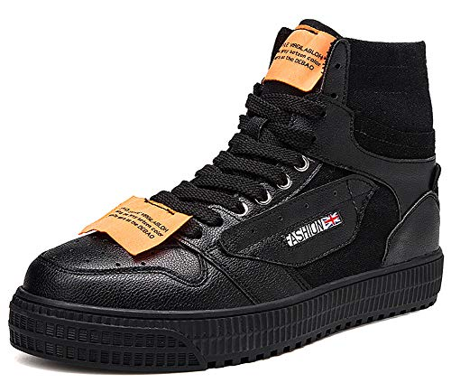 No.66 Town Mens Athletic Running High-top Hip-hop Canvas Board Flat Walking Shoes Gym Jogging Fashion Sneakers Size 9.5 Black by No.66 Town