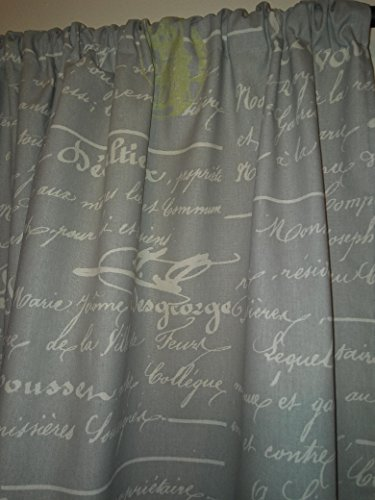 Grey french script and ecru Curtains panels 2 Drapes 54