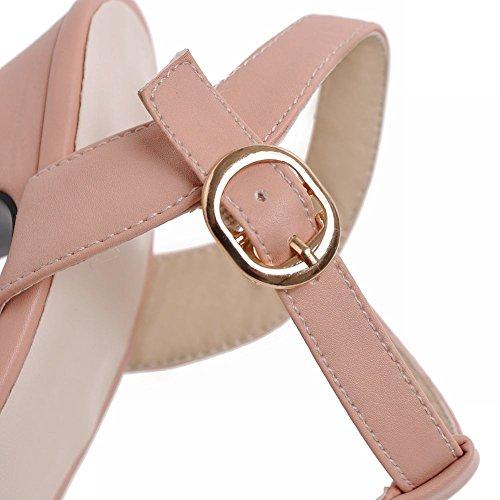 Carol Skor Chic Kvinna Spännet Söt Mode Peep-toe Elegans Plattform Chunky Högklackade Sandaler Rosa