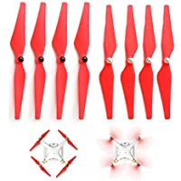 JouerNow 8PCS 9450 PVC Self Locking Enhanced Prop Propeller for DJI Phantom 3 2 E300 Red