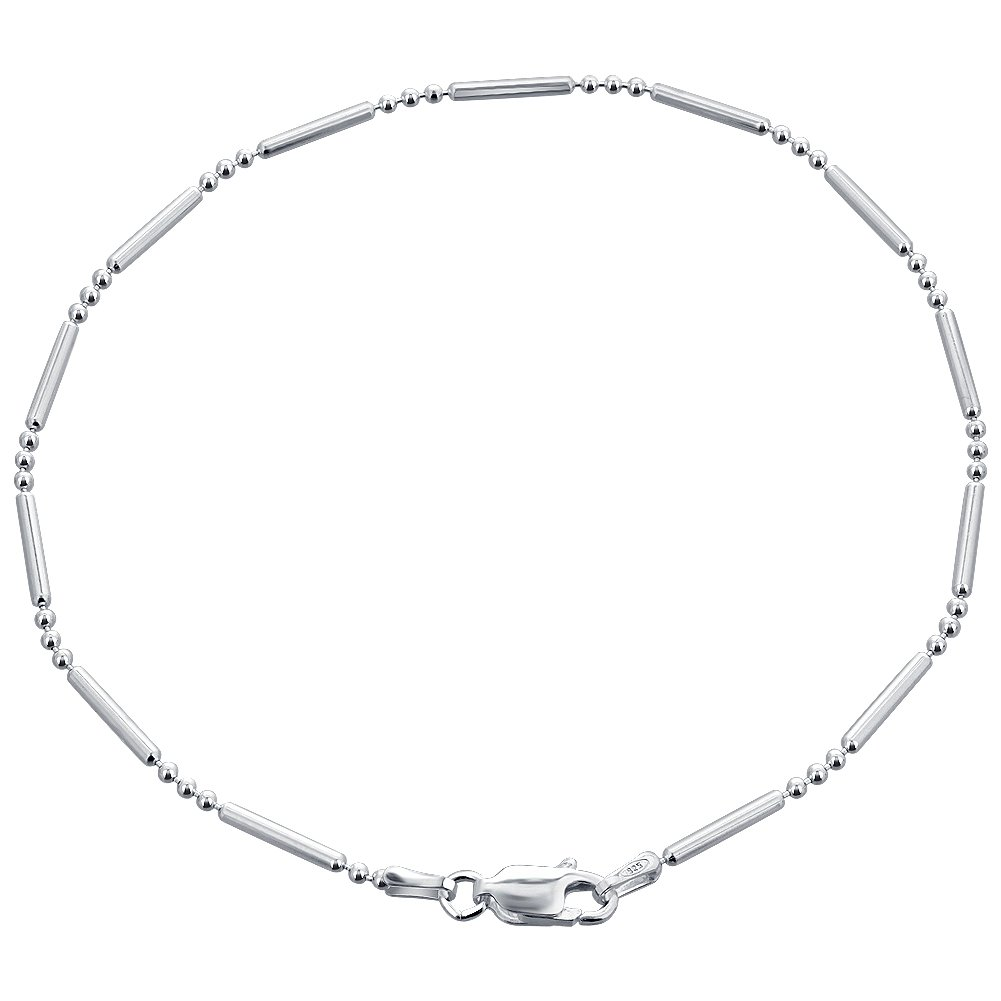 Gem Avenue Italian 925 Sterling Silver Chain Ankle Bracelet With Spring Ring Clasp (9'' - 11'' Available)