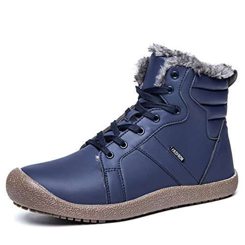 Leather Boots for Men and Women Plush Warm Breathable Anti-Slip Waterproof Lacing Snow Boots Outdoor Blue