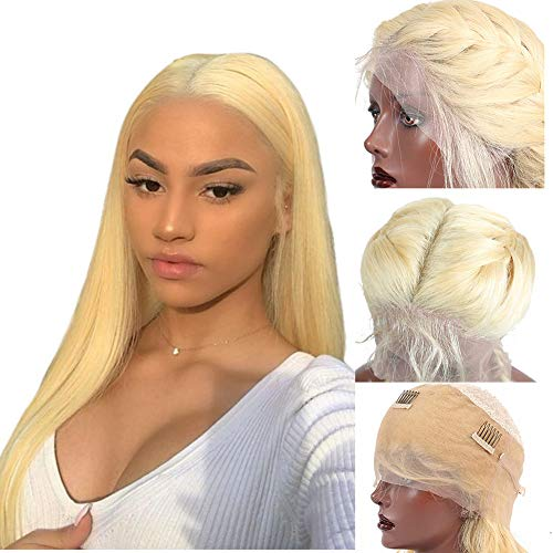 Straight #613 Platinum Blonde Lace Front Human Hair Wigs With Baby Hair 150% Density 360 Lace Frontal Glueless Remy Hair Bleached Knots Pre Plucked (14 inches) ()