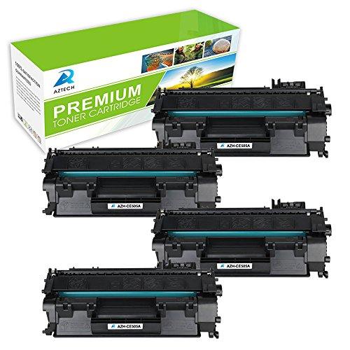 Aztech 4 Pack Compatible Replacement HP 05A CE505A Black Toner Cartridge 2,300 Yield For LaserJet P2030 P2035 P2035N P2050 P2055D P2055DN P2055X Series Printers