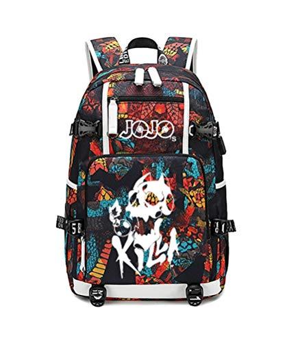 Siawasey Japanese JoJo's Bizarre Adventure Cosplay Luminous Backpack Daypack Bookbag Laptop School Bag with USB Charging Port]()
